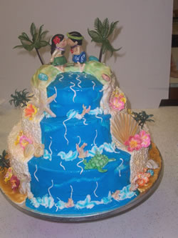 Hawaiian themed birthday cake with flip flops
